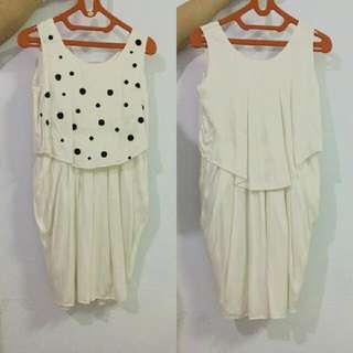 White Black Buttons Dress