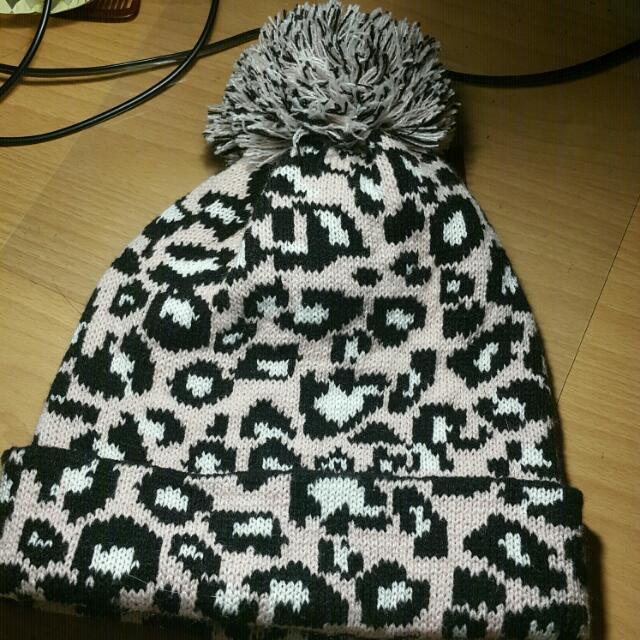 粉紅豹紋毛帽
