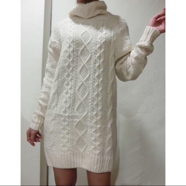 保暖高領長版毛衣