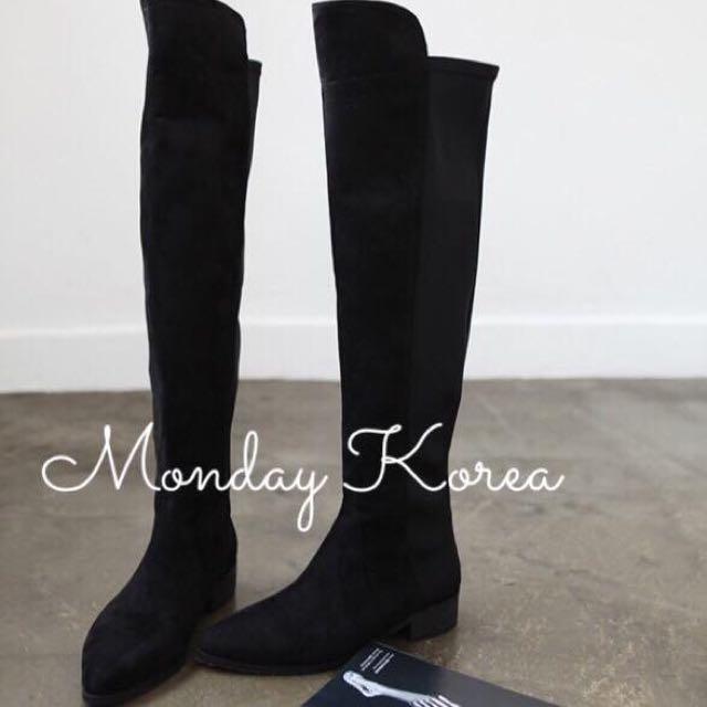 二手實拍轉賣-超美尖頭膝上麂皮長靴!