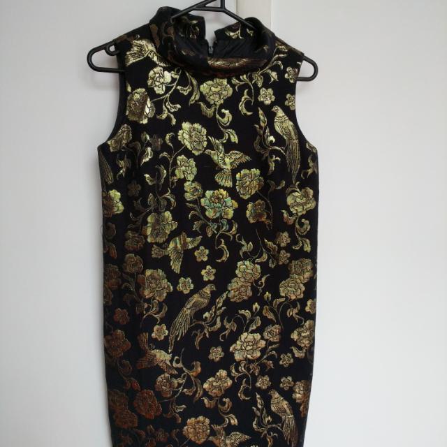 ASOS Gold Jaqard Dress Size 8