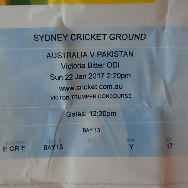 Australia V Pakistan ODI X2 Tickets