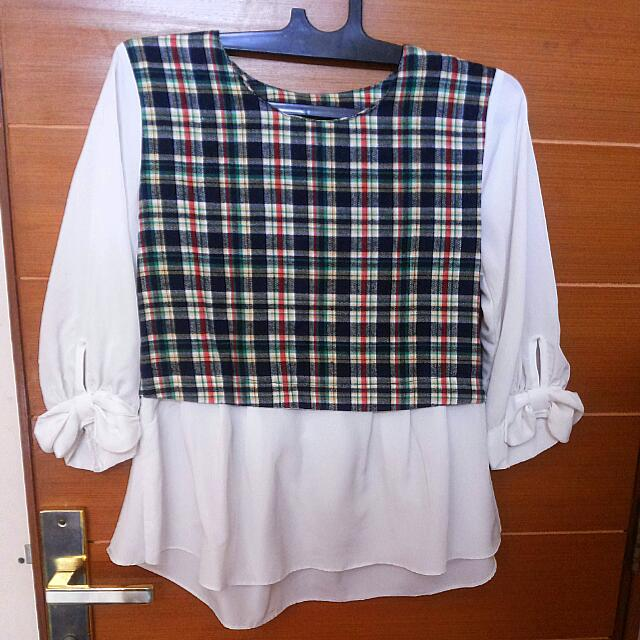 Green-White Tartan Top