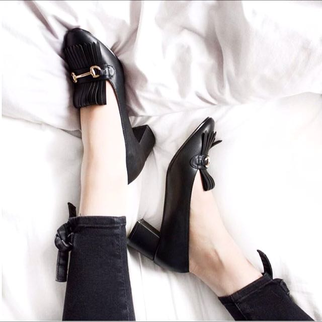 Black Heeled Loafers