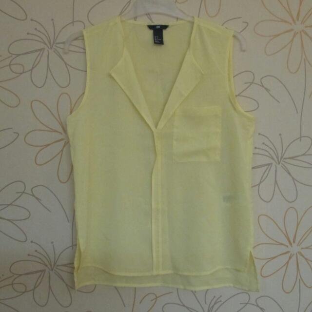 NEW H&M Sleeveless Yellow Blouse