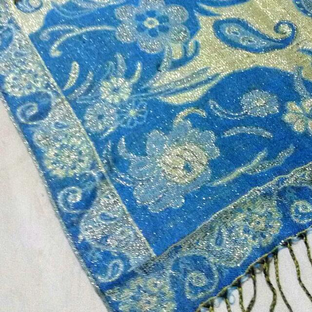 Pashmina Mekkah Blue-Gold