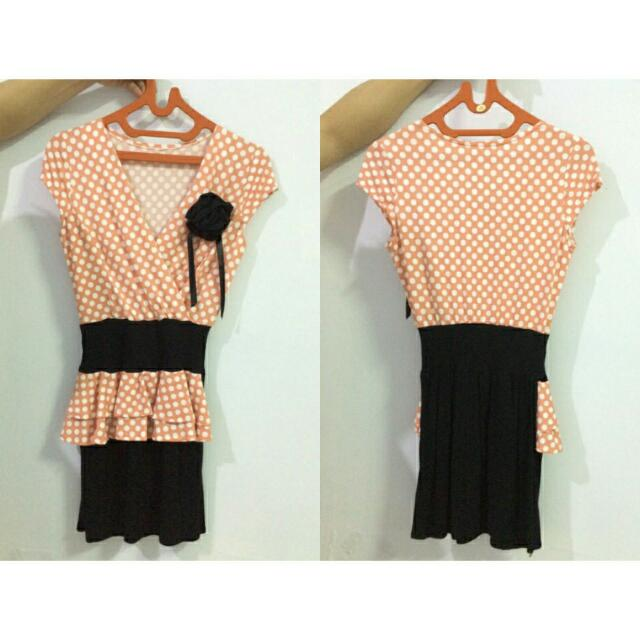 Polkadot Peach With Rose Dress