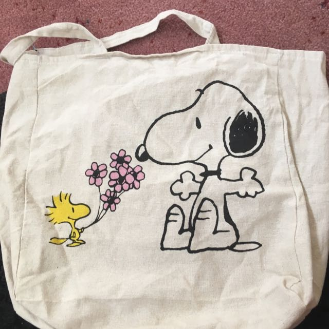 Snoopy Flowers Tote Natural