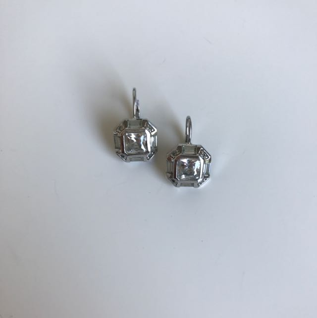 Stirling Silver Earrings With Cubic Zirconia Diamonds