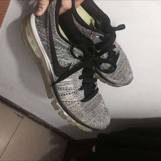 Nike Flyknit Max 飛線 編織 雪花灰 黃金us8.5