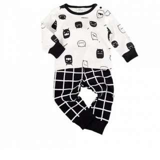 Baby/Toddler's Cotton Cute Monsters Long-Sleeve Tee & High-Waist Pants Set (2pc-set)