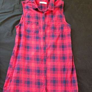 Red Checkered Flannel Tunic - Size: 10