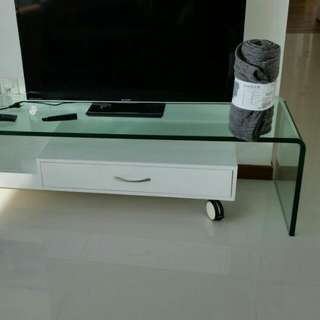 TV Cabinet With Temper Glass With Curvy Edge