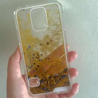 Gold And Blue Stars Glitter Waterfall Phone Case (for Samsung S5)