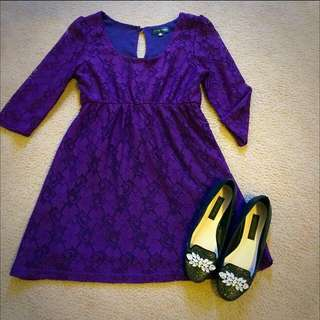 Purple Lace Dress Sz S