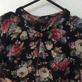 Floral Sheer Sleeve Playsiit