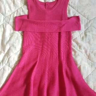 Knitted Pink Off Shoulder Skater Dress