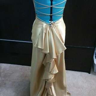 Stunning Backless Gold Ruffle Ball Gown