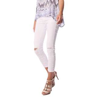WHITE MID RISE ANKLE SKINNY JEANS