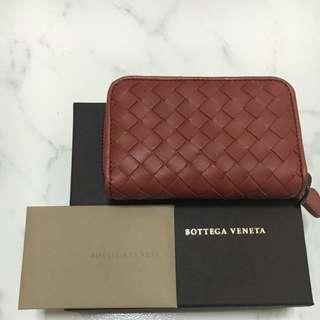 Authentic Bottega Venata (BV) Deep Cherry Intrecciato Nappa Wallet / Card Holder /Coin Purse