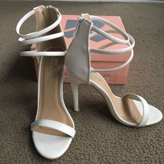 Georgia Three Ankle Band Heels - White