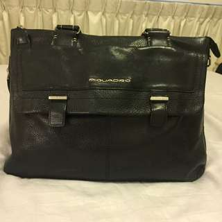 Piquadro Black Leather Briefcase / Computer Bag
