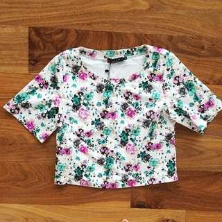 🔻Ezra White Floral Multicolour Short Sleeve Top