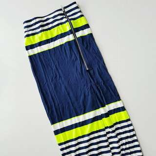 MDS Neon Stripes Maxi Skirt Size S