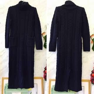 超顯瘦‼‼針織深藍高領長裙