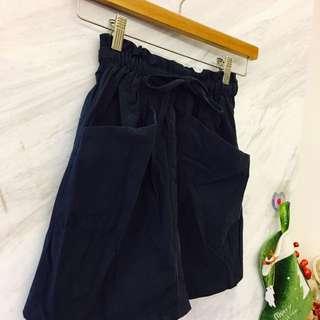✨氣質伸縮深藍口袋短裙