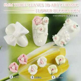 10pcs/lot  8mm 3D Ceramic Rose Flower Nail Art Tips Sticker Scrapbook Decorations