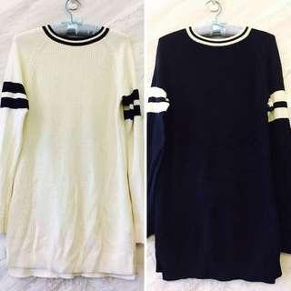 全新原價1100✨uniqlo長版毛衣 (白/深藍)