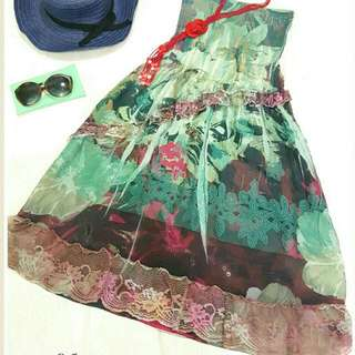 Green Floral Tube-less Dress