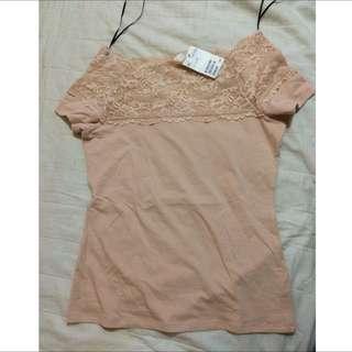 (REPRICE) Pink Lace Shirt HnM