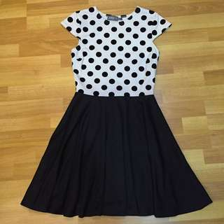 Monochrome Polka-dotted Swing Dress