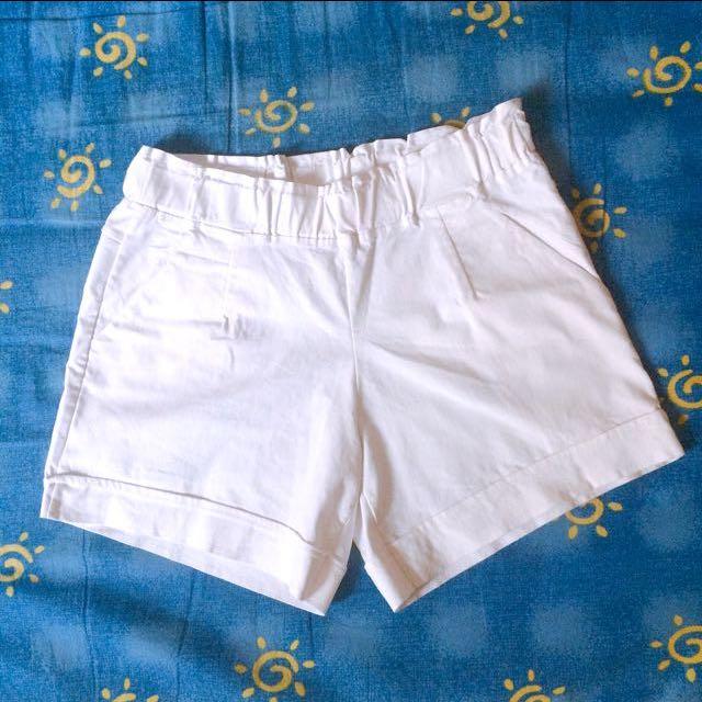 挺版鬆緊白褲