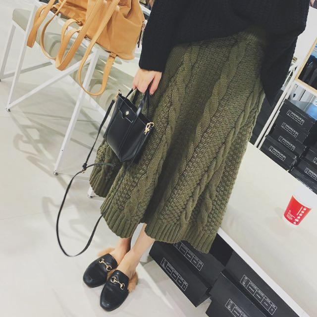 麻花 針織 毛線 鬆緊腰 裙