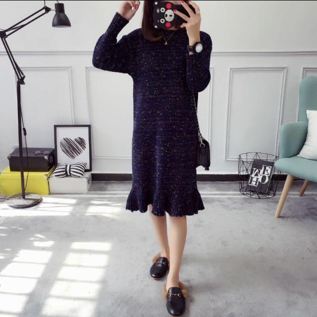 混色 毛線 圓領 小魚尾 毛衣 連身裙
