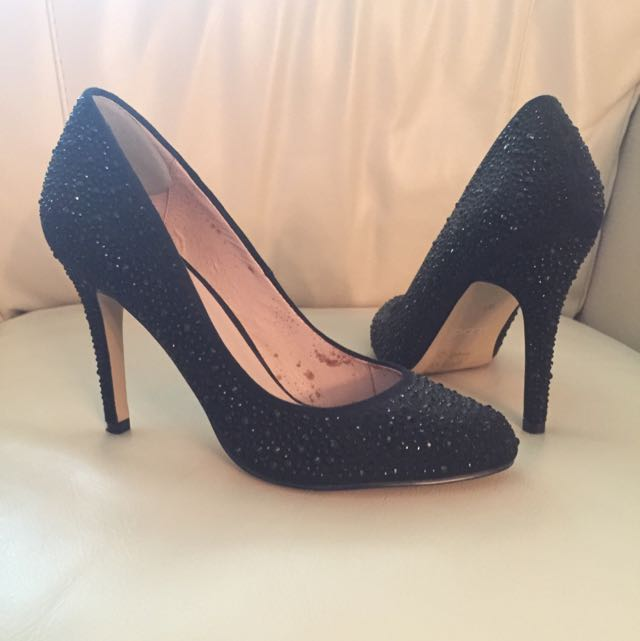 Aldo Black Glittery Stone Pumps