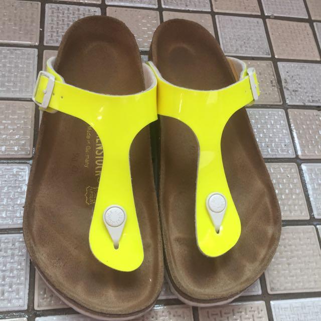 BIRKENSTOCK 正貨 螢光黃夾腳拖鞋 涼鞋