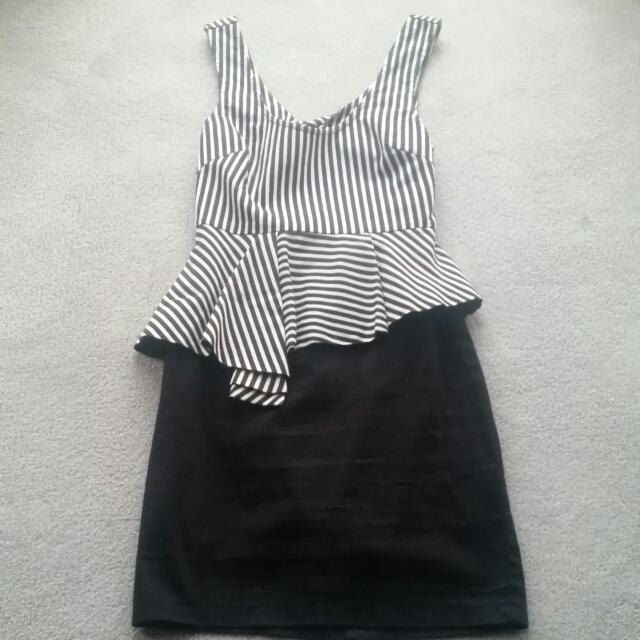 Black & White Stripe Party Dress