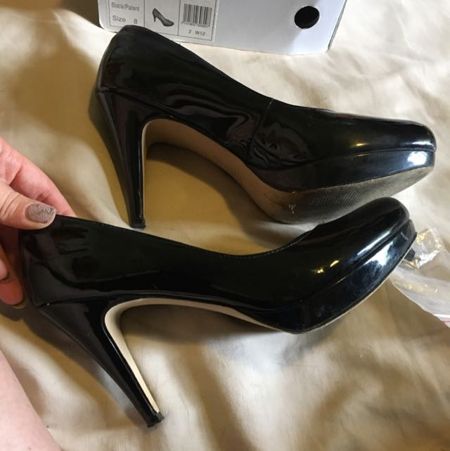 Black Betts Patent Heels Sz 8