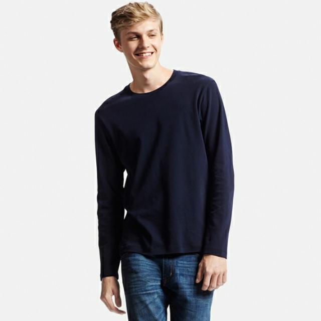 ebff6e417a6e2 BNWOT  UNIQLO Men s Soft Touch Crew Neck Long Sleeve T-Shirt