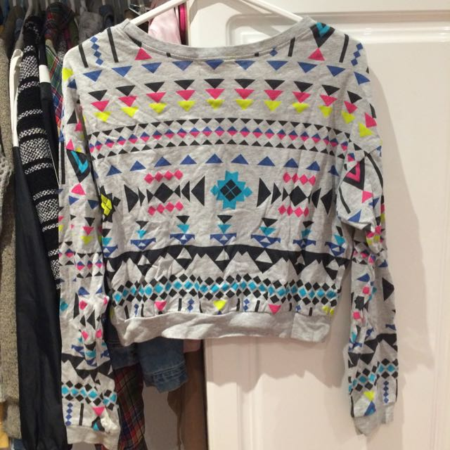 F21 Crop Aztec Sweater