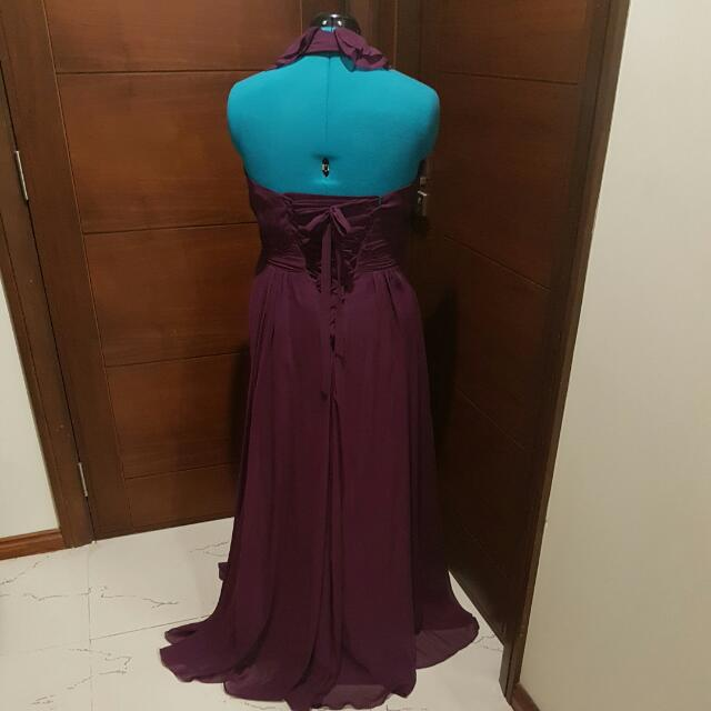 Floor Length Chiffon Halter Gown- Size 14-16