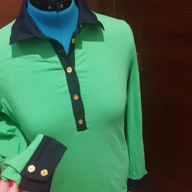 Green Button-up Long Sleeve Top- Size 12-14