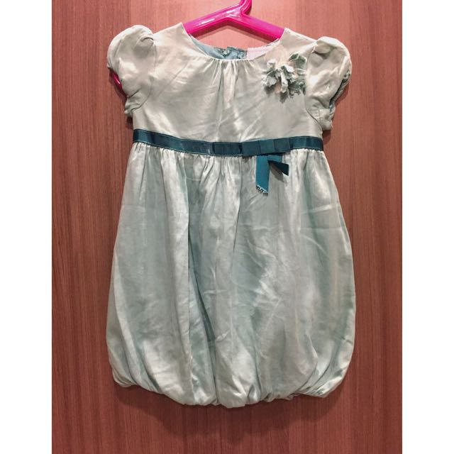 Green Girls Cute Bubble Dress