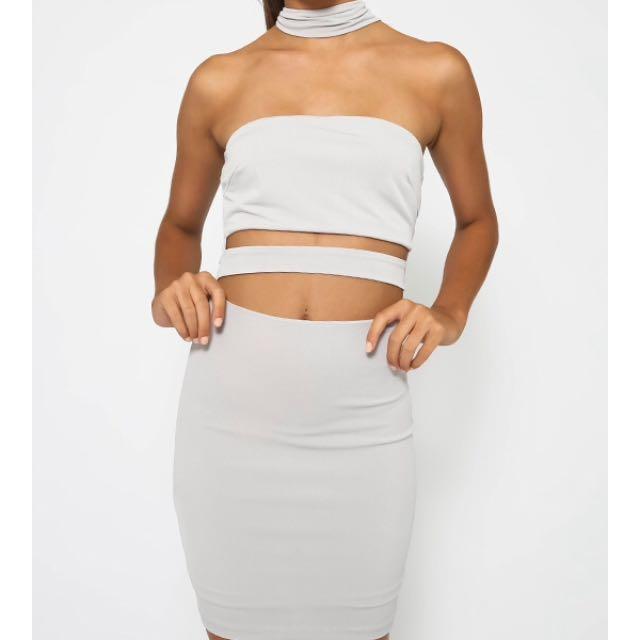 Grey Choker Dress Peppermayo
