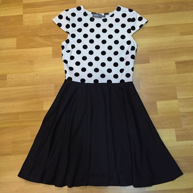 Monochrome Polka-dotted Swing Dress