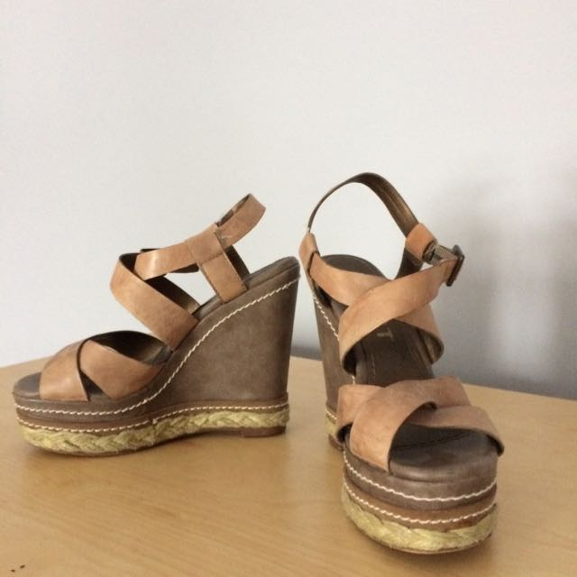 Platform Sandals With Leather Straps.
